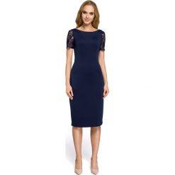 Sukienka z koronkowymi wtawkami moe274. Niebieskie sukienki damskie MOE, z koronki, wizytowe, z dekoltem na plecach. Za 149.90 zł.