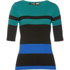 Sweter, krótki rękaw bonprix dymny szmaragdowy - lazurowo-czarny. Niebieskie swetry damskie bonprix. Za 74.99 zł.