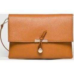 Answear - Torebka skórzana. Pomarańczowe torby na ramię damskie ANSWEAR. W wyprzedaży za 159.90 zł.