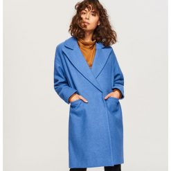 Płaszcz z domieszką wełny - Niebieski. Niebieskie płaszcze damskie Reserved, z wełny. Za 199.99 zł.