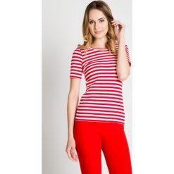 Biało-czerwona bluzka w poziome pasy BIALCON. Białe bluzki damskie BIALCON, w paski, klasyczne, z klasycznym kołnierzykiem. W wyprzedaży za 76.00 zł.