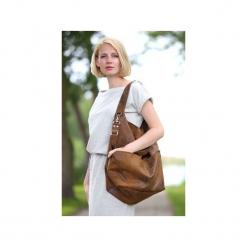 Brązowa torba worek z kieszeniami na ramię. Brązowe torby na ramię damskie Karolina audycka. Za 179.00 zł.