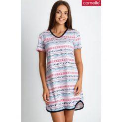 Piżama koszula nocna z azteckim wzorem QUIOSQUE. Szare piżamy damskie QUIOSQUE, na jesień, w kolorowe wzory, z bawełny, z długim rękawem. Za 89.99 zł.