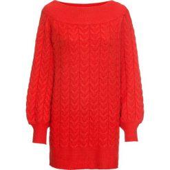 """Długi sweter z dekoltem """"carmen"""" bonprix truskawkowy. Swetry damskie marki bonprix. Za 99.99 zł."""