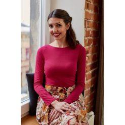 Bluzka Eunika malinowa długi rękaw XXS różowy. Czarne bluzki z długim rękawem męskie Marie Zélie, w paski, z bawełny, z dekoltem w łódkę. W wyprzedaży za 60.90 zł.