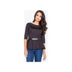 Bluzka M417 Czarny. Czarne bluzki damskie Figl, z jeansu, eleganckie, z dekoltem w łódkę. Za 109.00 zł.