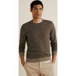 Mango Man - Sweter Eleven. Szare swetry przez głowę męskie Mango Man, z bawełny, z okrągłym kołnierzem. Za 199.90 zł.