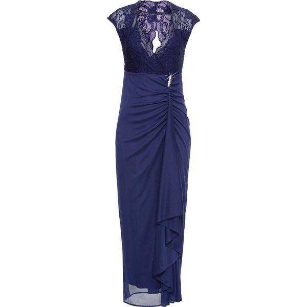 0344a7e9f Długa sukienka z dżerseju z koronką bonprix kobaltowy - Sukienki ...