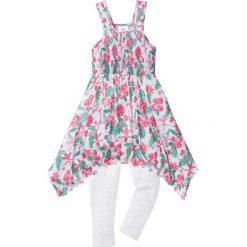 Sukienka + legginsy 7/8 (2 części) bonprix biel wełny-zielono-różowy z nadrukiem. Legginsy dla dziewczynek marki OROKS. Za 59.99 zł.