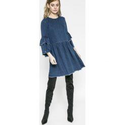 Only - Sukienka. Szare sukienki damskie Only, z jeansu, casualowe, z okrągłym kołnierzem. W wyprzedaży za 99.90 zł.