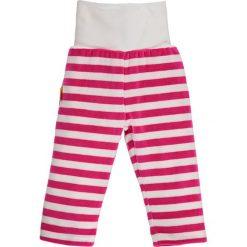 Spodnie w kolorze różowo-białym. Spodenki niemowlęce Steiff, z aplikacjami, z materiału. W wyprzedaży za 39.95 zł.