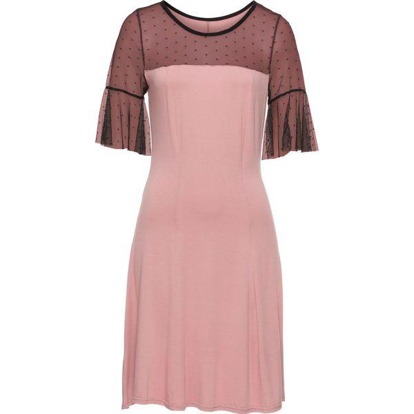 e2aabc5450 Sukienka z dżerseju z siatkową wstawką w kropki bonprix stary ...