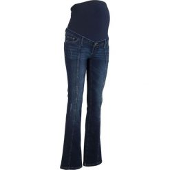 Dżinsy ciążowe BOOTCUT bonprix ciemny denim. Niebieskie jeansy damskie bonprix. Za 99.99 zł.