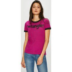 Wrangler - Top. Fioletowe topy damskie Wrangler, z nadrukiem, z bawełny, z okrągłym kołnierzem, z krótkim rękawem. Za 99.90 zł.