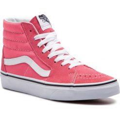 Sneakersy damskie czerwone Vans sportowe skórzane bez wzorów