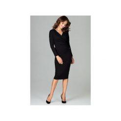 Sukienka K477 Czarny. Czarne sukienki damskie Lenitif, z dekoltem w serek, z długim rękawem. Za 179.00 zł.
