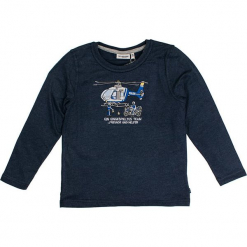 """Koszulka """"Polizei"""" w kolorze granatowym. Niebieskie t-shirty dla chłopców marki Salt & Pepper, z nadrukiem, z długim rękawem. W wyprzedaży za 42.95 zł."""