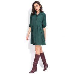 Fille Du Couturier Sukienka Damska Oriane 36 Zielony. Zielone sukienki damskie Fille Du Couturier, z koszulowym kołnierzykiem. Za 209.00 zł.
