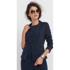 Taliowany żakiet. Niebieskie żakiety damskie Orsay, z dzianiny, eleganckie. Za 149.99 zł.