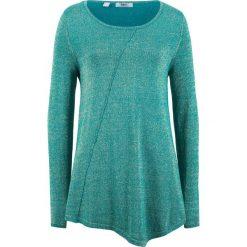 Sweter z błyszczącą nitką, długi rękaw bonprix kobaltowo-turkusowy - złoty metaliczny. Niebieskie swetry damskie bonprix, z dzianiny, z asymetrycznym kołnierzem. Za 89.99 zł.