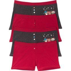 Bokserki damskie (4 pary) bonprix ciemnoczerwono-antracytowy melanż z nadrukiem. Czerwone bokserki damskie bonprix, melanż. Za 55.96 zł.