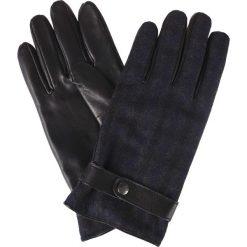 Rękawiczki w Kratę. Czarne rękawiczki męskie LANCERTO, w paski, ze skóry. Za 149.90 zł.