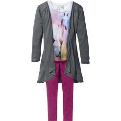 Shirt, kardigan + legginsy (3 części) bonprix biel wełny - dymny szary - fioletowy. Legginsy dla dziewczynek marki OROKS. Za 74.99 zł.