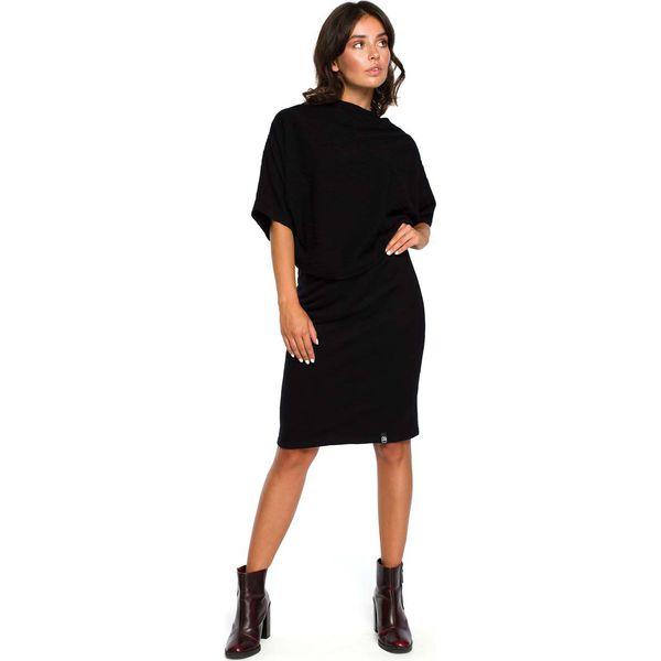 c809059d50 Czarna Dzianinowa Sukienka z Lejącym Dekoltem - Sukienki damskie ...
