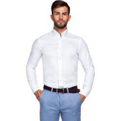 Koszula Biała Fiore. Białe koszule męskie LANCERTO, na lato, z haftami, z bawełny. Za 299.90 zł.