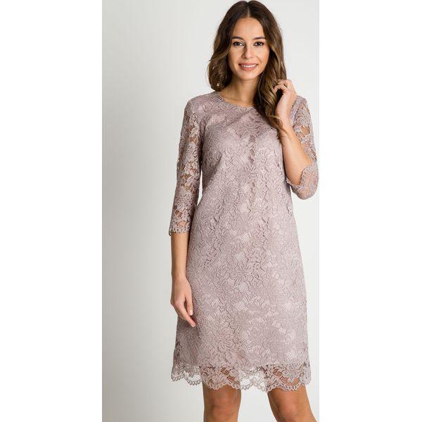3b7e9268352b Prosta koronkowa sukienka z krótkimi rękawami BIALCON - Sukienki ...