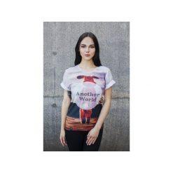 T-shirt Another World. Szare t-shirty damskie Bahabay, z nadrukiem, z bawełny. Za 83.30 zł.