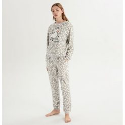 Dwuczęściowa piżama z jednorożcem - Jasny szar. Szare piżamy damskie Sinsay. Za 79.99 zł.