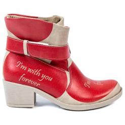 Botki w kolorze beżowo-czerwonym. Brązowe botki damskie Streetfly. W wyprzedaży za 239.95 zł.