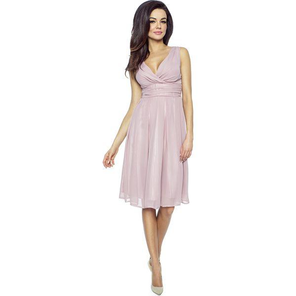 d38c806623 Różowa Romantyczna i Elegancka Sukienka z Kopertowym Dekoltem ...