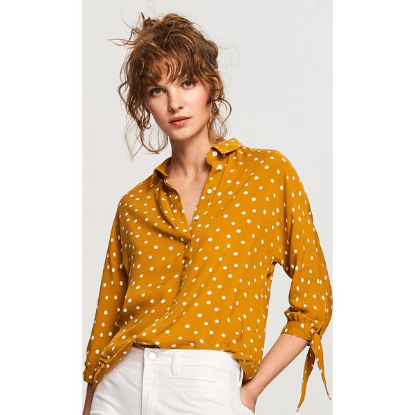 af43389c382f Bluzka w kropki - Żółty - Żółte bluzki damskie marki Reserved