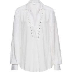 Bluzka z oczkami bonprix biel wełny. Białe bluzki damskie bonprix, z wełny. Za 59.99 zł.