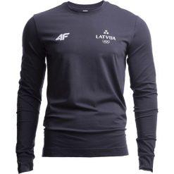 Longsleeve męski Łotwa Pyeongchang 2018 TSML800 - grafit. Szare bluzki z długim rękawem męskie 4f, z nadrukiem, z bawełny, z dekoltem na plecach. W wyprzedaży za 89.99 zł.