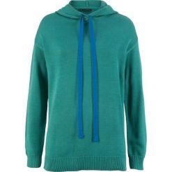 Sweter dzianinowy z kapturem bonprix dymny szmaragdowy. Niebieskie swetry damskie bonprix, z dzianiny, z kapturem. Za 74.99 zł.