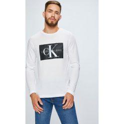 Calvin Klein Jeans - Longsleeve. Szare bluzki z długim rękawem męskie Calvin Klein Jeans, z nadrukiem, z bawełny, z okrągłym kołnierzem. Za 249.90 zł.