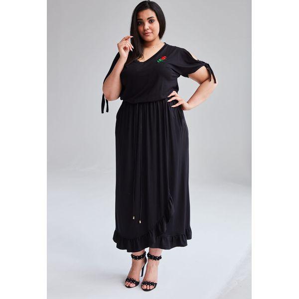 c3345f13 Czarna Sukienka Laura MAXI duże rozmiary OVERSIZE PLUS SIZE WIOSNA