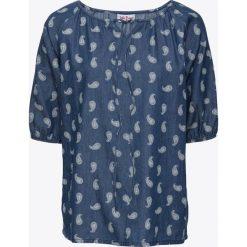 Tunika dżinsowa z nadrukiem, rękawy 3/4 bonprix biało-niebieski z nadrukiem. Tuniki damskie marki bonprix. Za 32.99 zł.