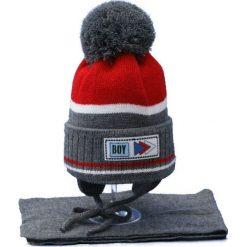 Czapka dziecięca z szalikiem CZ+S 024A. Szare czapki dla dzieci Proman. Za 44.66 zł.