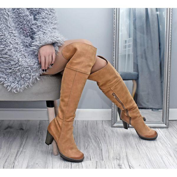 kozaki za kolano skóra naturalna model 185 kolor camelowy