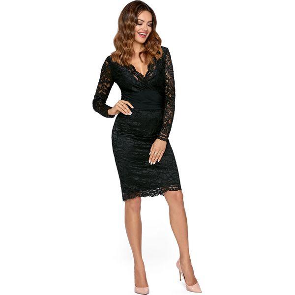 Niesamowite Elegancka Czarna Dopasowana Sukienka Koronkowa z Dekoltem V IY41
