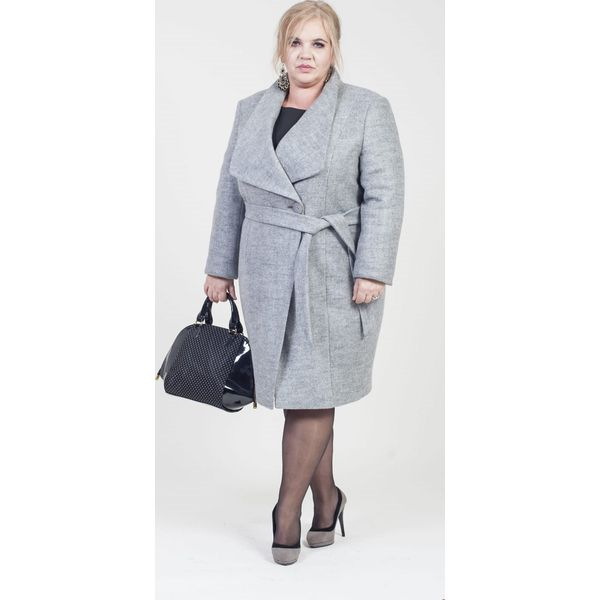 Elegancki szary płaszcz MIRA duże rozmiary dla puszystych