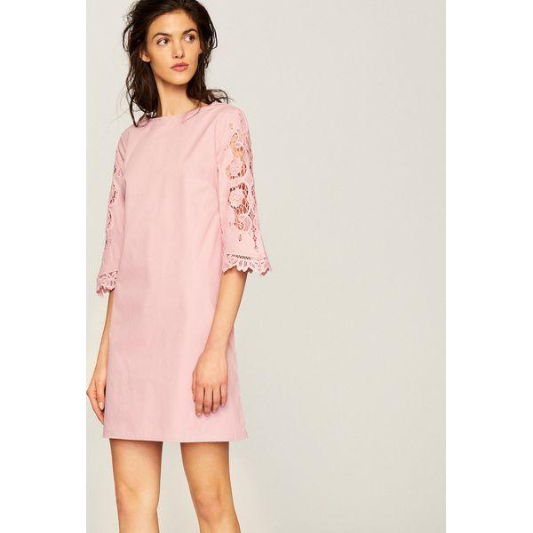 9dbfd424c1 Sukienka z koronkowymi rękawami - Różowy - Sukienki damskie marki ...