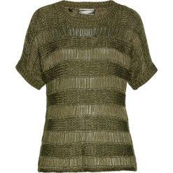 Sweter ażurowy bonprix ciemnooliwkowo-złoty. Swetry damskie marki bonprix. Za 109.99 zł.