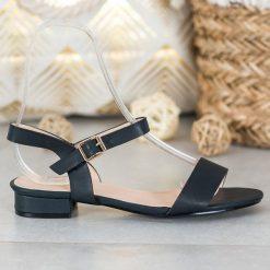 Small Swan Zamszowe Sandały Na Koturnie czarne w 2020