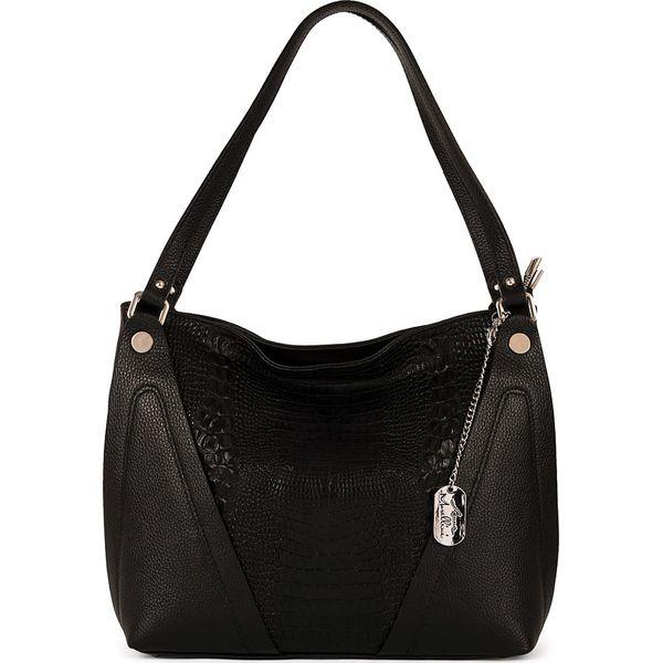 25ea7eabd63c8 Skórzana torebka w kolorze czarnym - 38 x 30 x 15 cm - Torby na ...