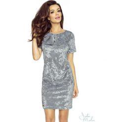 Klasyczna sukienka z kokardą b-68-01. Szare sukienki damskie Berg, z materiału, biznesowe, z kokardą. Za 139.90 zł.